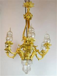 """Bronze & Baccarat Crystal Chandelier H: 34"""" France"""