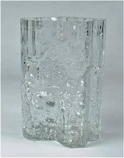 "Tapio Wirkkala ""Iwari"" Glass Vase 7"" x 4.5"" Finland Art"