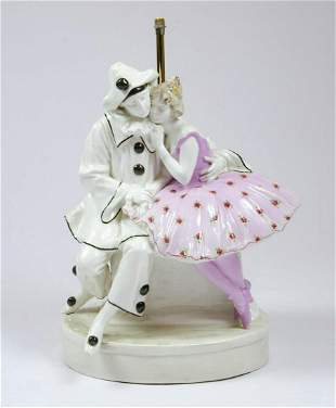 "F. Goldscheider Porcelain Table Lamp H: 13.5"" Austria"