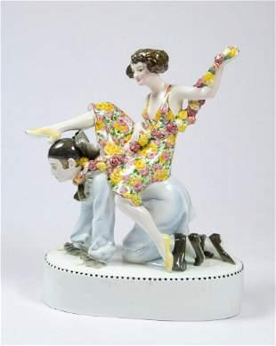 "F. Goldscheider Porcelain Art Deco Figure 14"" x 11"""