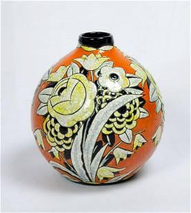 """Keramis Art Deco Ceramic Vase H: 8"""" Belgium 1926"""