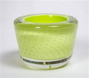 """Maurice Marinot Art Deco Glass Centerpiece H: 2.7"""" D:"""