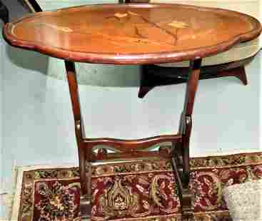 """Galle Table w/ Marqueterie H: 26"""" W: 26"""" D: 19"""" Signed"""
