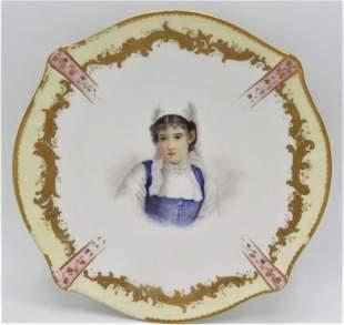 "Sevres Porcelain Plate by Caippaux Diam: 9"" France"