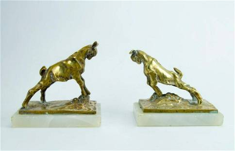 """Pair of Bronze Bookends with Goats Figures 6"""" x 6"""" x 4"""""""