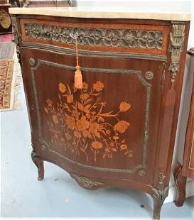 """French Corner Commode w/ Marble Top Front: 22"""" Deep:"""