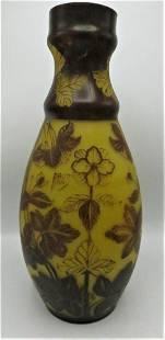 "Daum Nancy Cameo Glass Large Vase H: 17.5"" (Romania)"
