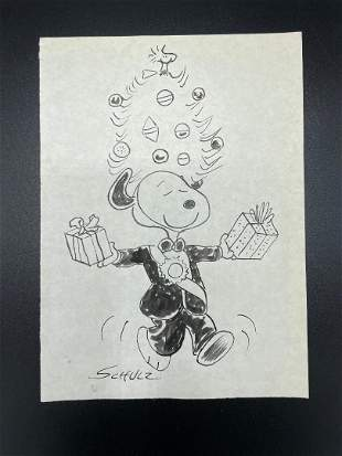 """Charles Schulz Pencil on Paper 8.6"""" x 6.2"""" Unframed"""