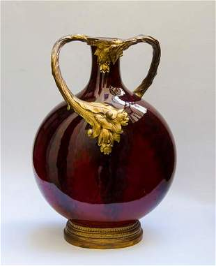 """Sevres Ceramic Large Vase Art Nouveau Style H: 16"""" W:"""