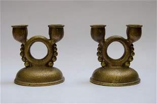 """Pair of Austrian Bronze Candlesticks 1930s H: 5"""" Art"""