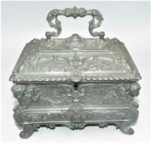 """Metal Casket Jewelry Box w/ Caryatides 7"""" x 7"""" x 5"""""""