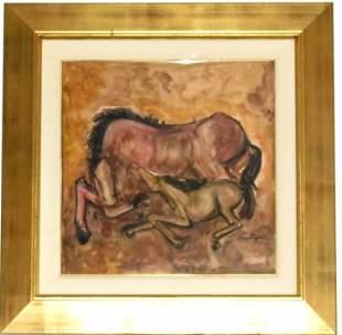 "Juan Carlos Castagnino Gouache on Paper 18"" x 18"""