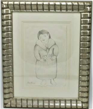 "Diego Rivera Pencil on Rice Paper No COA Fr: 19"" x 15"""