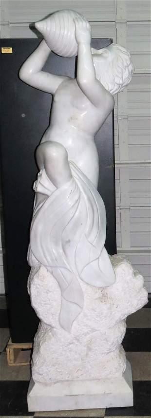"Very Large Carrara Marble Sculpture H: 67"" Excellent"