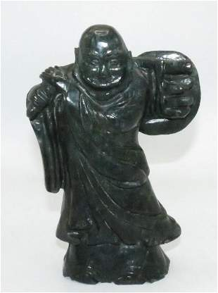 """Black Stone Sculpture of Monk H: 8"""" China"""