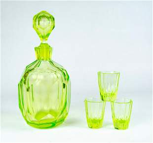 "Art Deco Uralina Bottle H: 11"" & 3 Cups H: 2.3"""