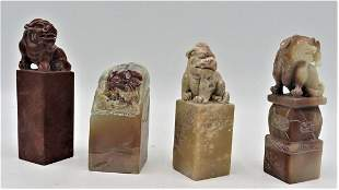 """Set of 4 stones Seal Sculptures H: 3"""" to 4"""" China"""