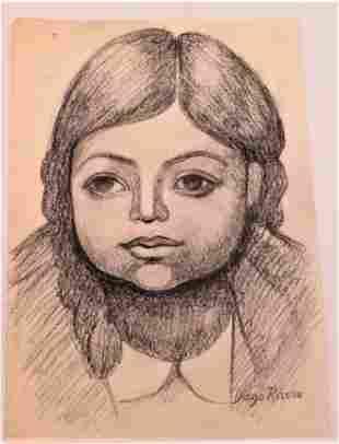 """Diego Rivera Pencil on Paper No COA 8"""" x 10"""""""