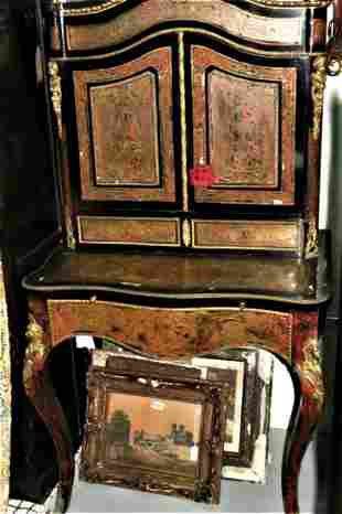 """Boulle Style Inlaid Bronze Desk H: 64"""" W: 38"""""""