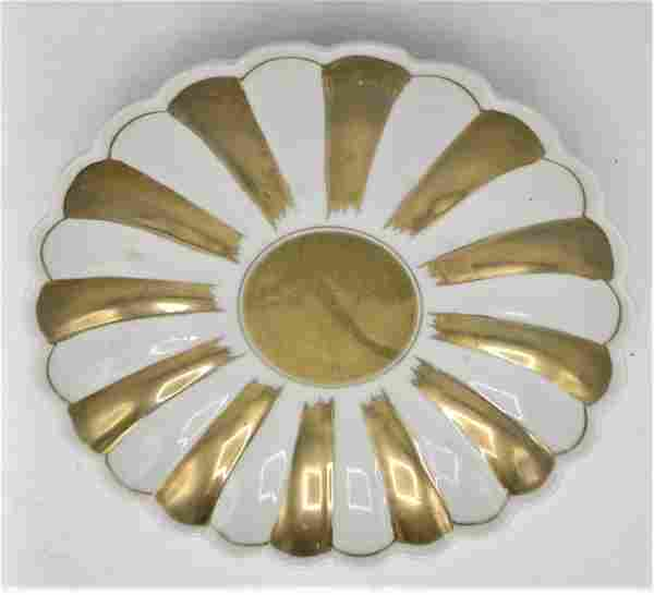 "European Porcelain Plate with Gold Diam: 6.5"""