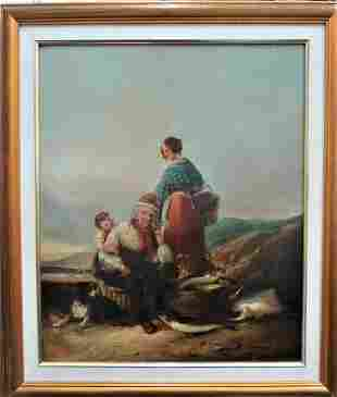 """Oil on Canvas Fisherman Family Signed Art: 24"""" x 20"""""""