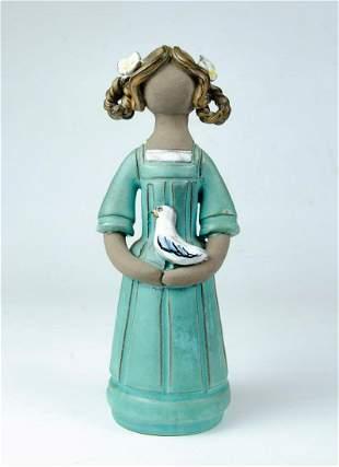 "Ceramic Figure of Girl with Bird H: 9.5"""