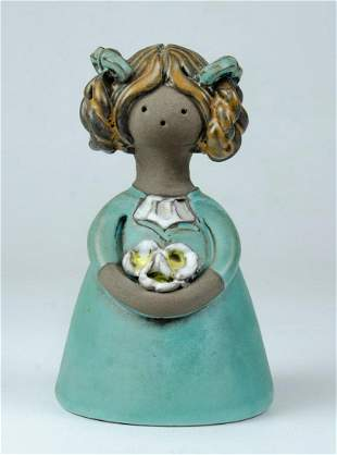 """Ceramic Figure of Girl with Flowers H: 5"""""""