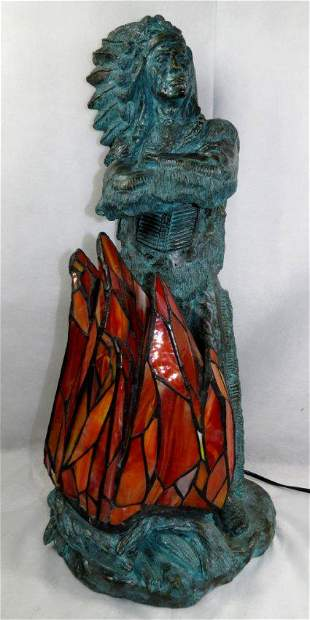 """Bronze Lamp/ Sculpture of Indian Chief- Signed H: 28"""""""