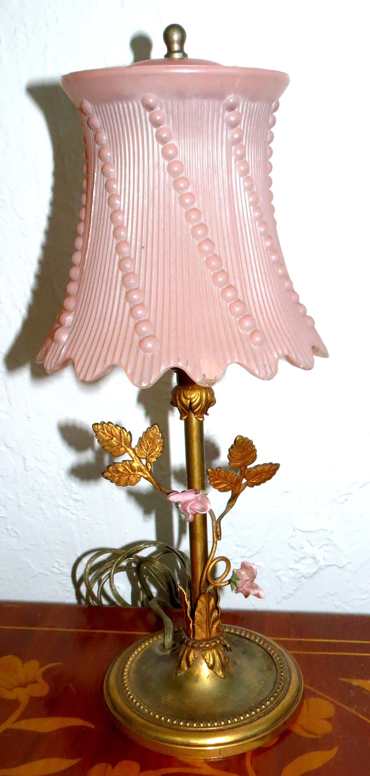 "Opaline Bronze Table Lamp 1930s H: 13"" France"