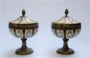 """Pair of Sevres Porcelain & Silver Urns H: 8"""" France"""