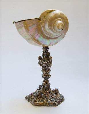"""Silver & Mother of Pearl Centerpiece H: 10"""" France"""