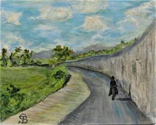 "Telemaco Signorini Oil on Canvas over Wood 10"" x 7.8"""