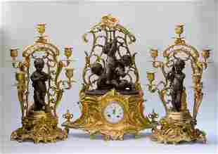 Bronze Dore Magnificent Garniture (Set of 3) France