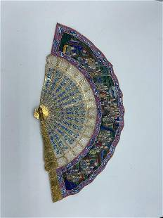 """Antique Chinese Fan with Original Box 20"""" x 10"""""""