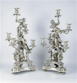 """Magnificent Pair of Christofle Candelabras H: 27"""""""