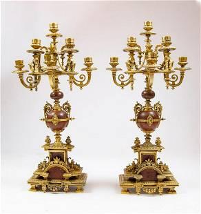 "F. Barbedienne Pair of Bronze Candelabras H: 25.5"""