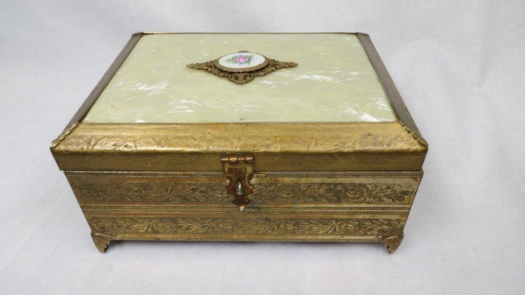 006: Brass and Enamel Music-Jewelry Box