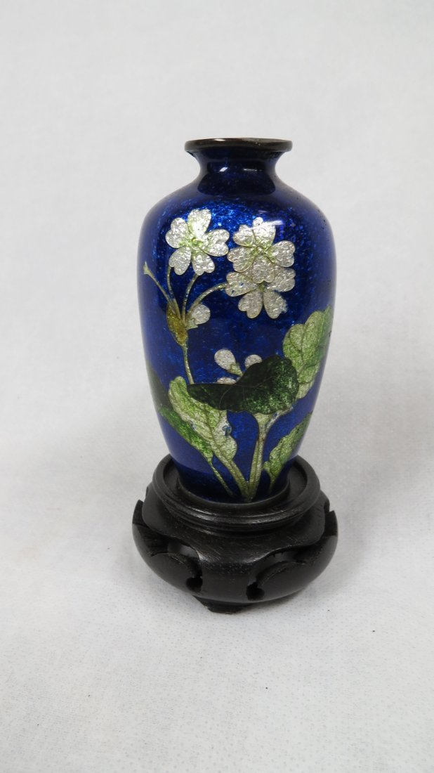 011: Enameled Bronze Vase w/ Good Wood Stand