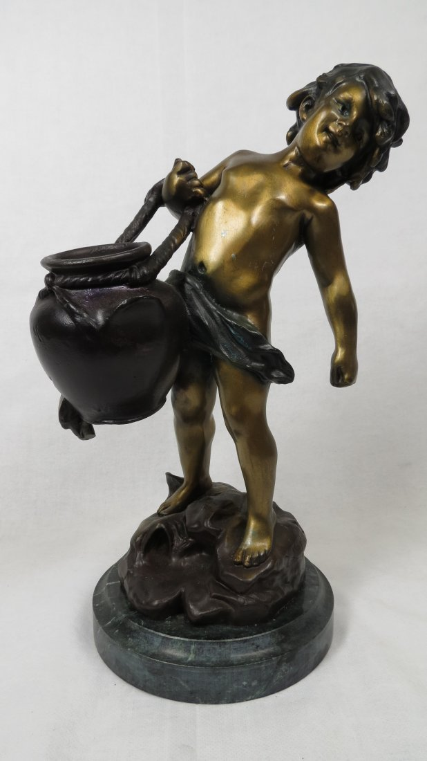 "024: Bronze Figure w/ Marble Base, ""Boy with Vase"""