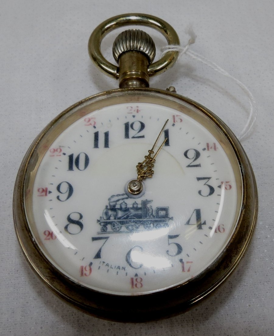 418: Pocket Watch, Italy. Locomotive on Face