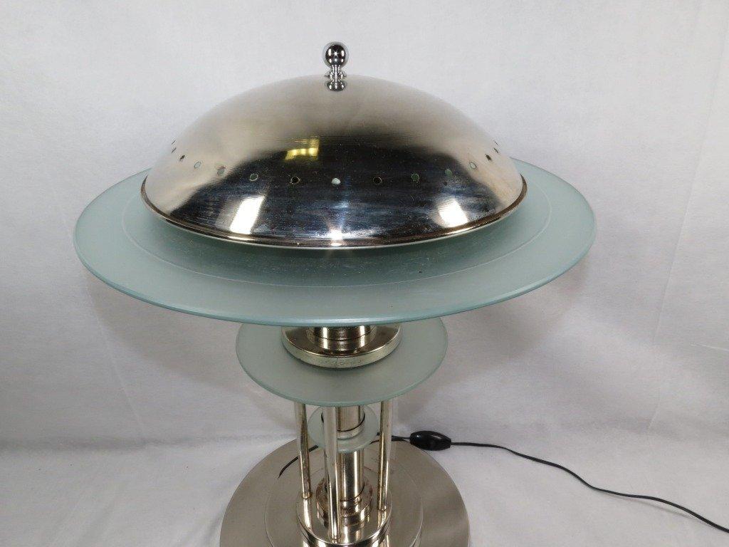 1197: Art Deco Table Lamp,  Chrome Metal and Glass - 3