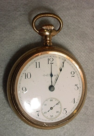 1023: Pocket Watch, Elgin, Swiss made, Gold Plaque