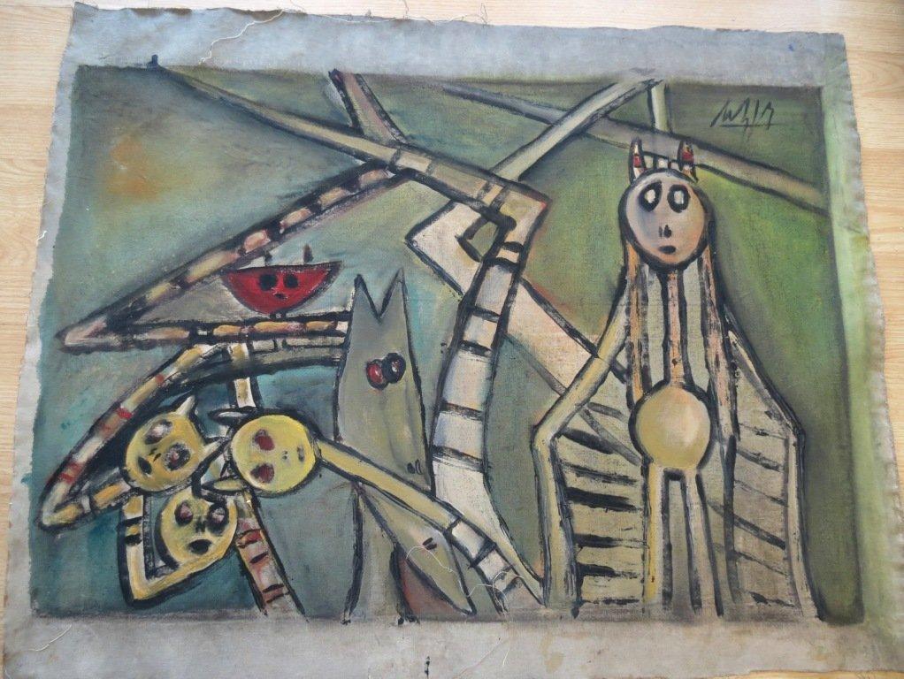 1235: Wilfredo Lam Oil Painting , Cuban Artist