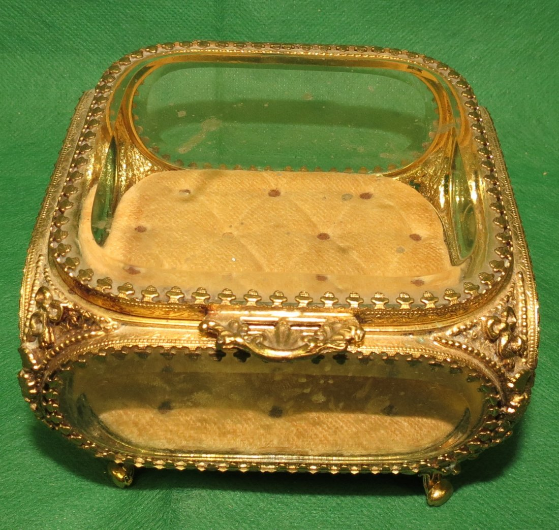Brass and Crystal Jewelry Box