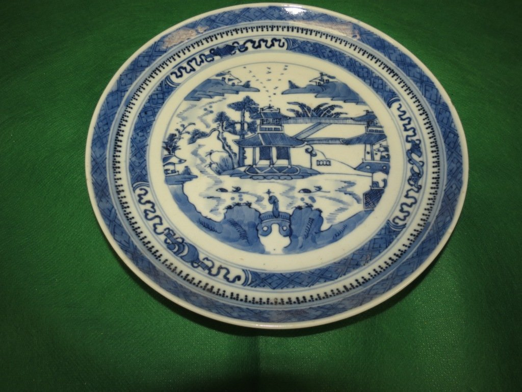 18th Century.Chinese Export Blue and White  Plate