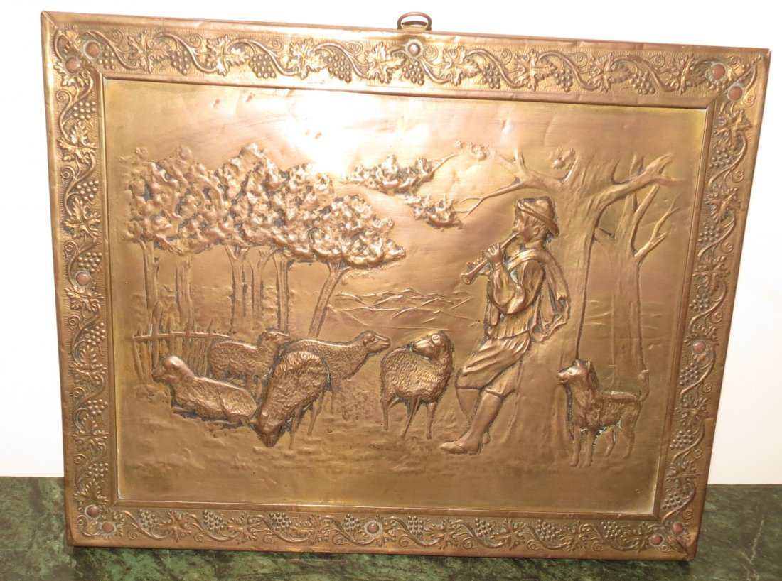 Brass Plaque with Farm Scene - France - 1900