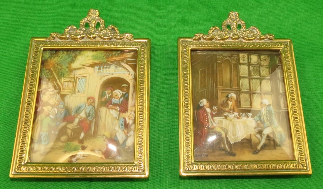Pair of Miniatures w/Bronze Frame.  Sig. Dimarch