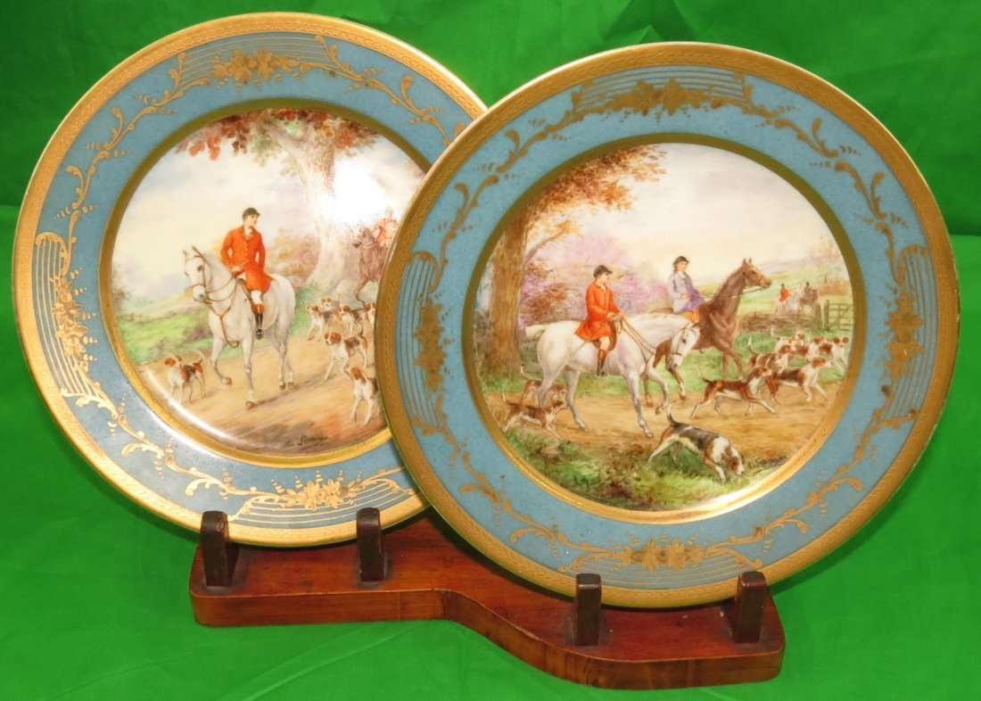 Pair of Sevres plates w/wood Stand. Sig. A.Sanger