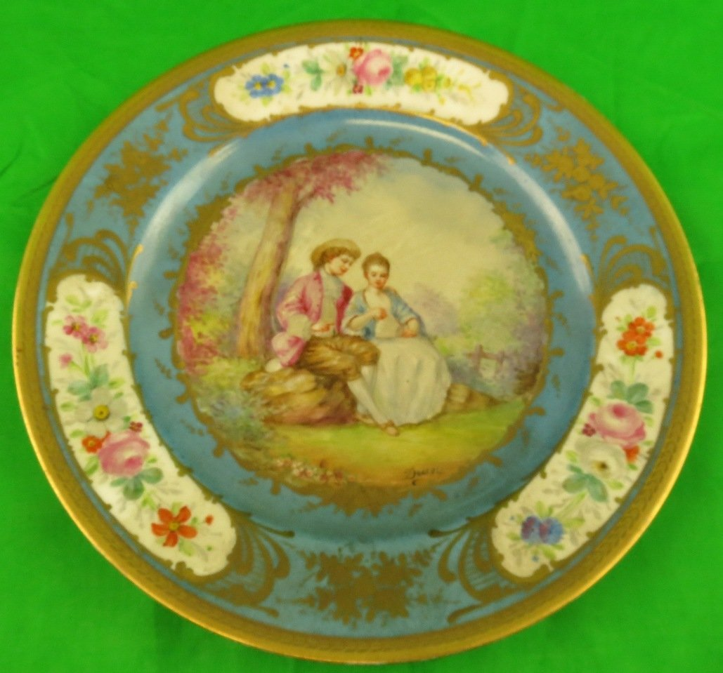 Old Sevres Plate , signed Duney, Romantic Scene
