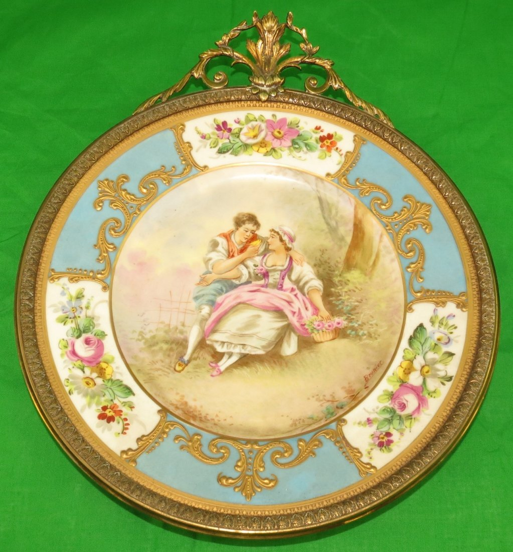 Antique Limoges Plate Bronze Frame  By Brunier